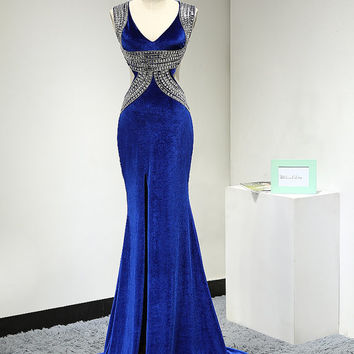 Backless Velvet Mermaid Evening Dress Sexy Royal Blue Prom Dress with Beading and Cutouts High Slit V Neck Long Formal Gown