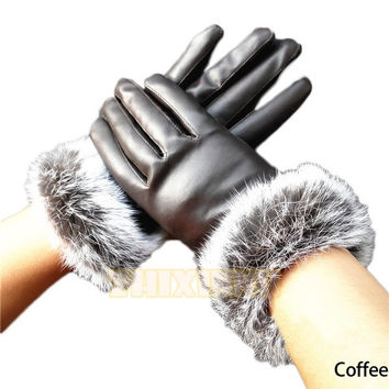2015 new hot fashion    gift  Women Faux Leather Rabbit Hair Ball Gloves Winter Warm Driving Mittens = 1958003012