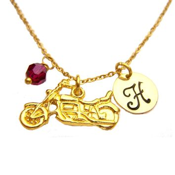 Motorcycle Necklace - Gold Initial Necklace - Birthstone Necklace - Gold Initial Necklace - Personalized Necklace - Motorcycle Charm