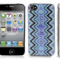 Transparent Snap-On Clear iPhone Cover Case for 4/4S iPhone -Aztec Mayan Native American Pattern -