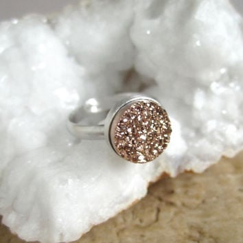 Rose Gold Druzy Ring Titanium Druzy Quartz Sterling Silver Adjustable Band