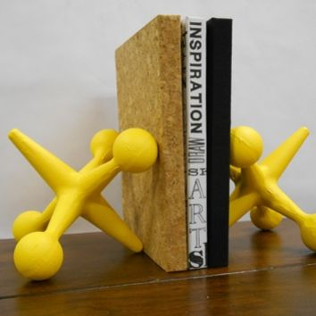 Supermarket: Yellow Cast Iron Jax Jacks Bookends - Unique Mid Century Modern Style Geekery Decor from Urban Trading Post