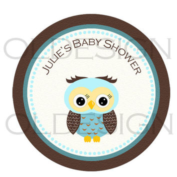 Owls stickers , Cupcake Topper, Tags, great for birthday partys. Digital file. 2 inch circles