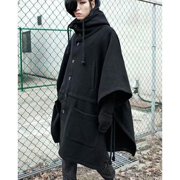 2016 Fashion Harajuku Gothic Clothing Black Mens Jacket Trench Coat Wool Men Fashion Brand Peacoat Hooded Cloak Long Big Size