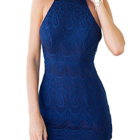 Blue Halter Open Back Lace Bodycon Dress