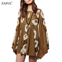 Summer Women Dress Casual Keyhole Neckline Long Sleeves Floral Print Woman Mini Dresses