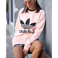 adidas Originals Trefoil Crew Neck Sweatshirt In Pink