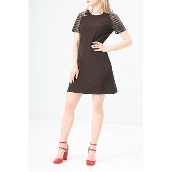 Fontana Black Round Neck Half Sleeves Day Dress