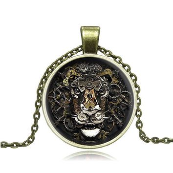 Steam Punk Gears Lion Retro Exaggerate Time Gem Glass Cabochon Necklace Pendant