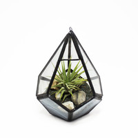 Stained Glass Tear Drop Terrarium Kit - With air plant, black sand and pebbles - hanging or desk garden - SHIPS TO CANADA