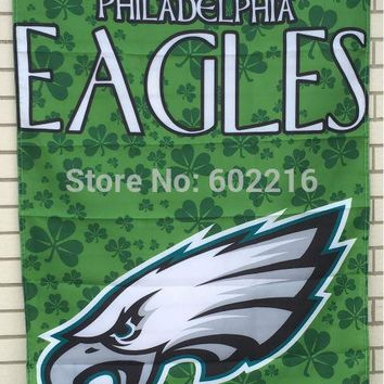 Philadelphia Eagles Shamrock Decorative Vertical House Flag 3ft x 5ft Football Hockey USA Flag