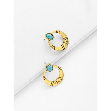 Gold Contrast Hoop Earrings With Turquoise