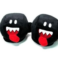Slippers Plush - Nintendo Super Mario Bros - Black Ghost Boo