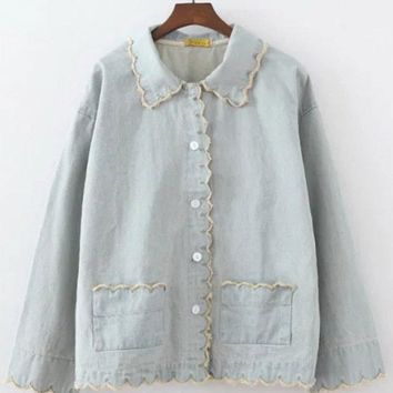 Denim Embroidered Vintage Shirts