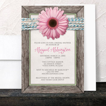 Pink Daisy Bridal Shower Invitations - Rustic Floral Southern Country Chic Wood Frame Turquoise Twine - Printed Invitations