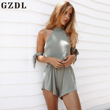 GZDL Sexy Summer Women's Halter Backless Mini Playsuit Ladies Fashion Gray Solid Beach Party Jumpsuits Rompers Overalls CL3592