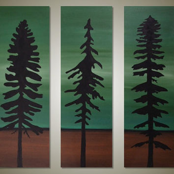 Original Modern TREE art - Green and Brown Tree Silhouette - Canvas Triptych Acrylic Painting - Amongst the Giants 3: 24 x 24