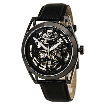 Kenneth Cole KC8083 Men's New York Skeleton Dial Black IP Steel Black Strap Automatic Watch