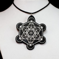 Metatron's Cube 1 Black and White Acrylic - Sacred Geometry - Wooden Pendant Necklace, Lasercut