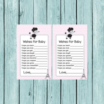 Baby Shower Game, Wishes for Baby, Paris Poodle, Baby Advice, Printable Game, Instant Download, Printable, diy, Party Printables, Baby Game
