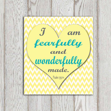 I am fearfully Christian scripture print Psalm 139:14 Yellow turquoise gray chevron Bible verse Nursery heart Little girls bedroom decor