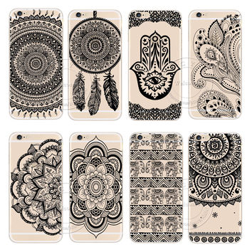 2016 New Plastic Hard Back Case Cover For Apple iPhone 6 6S iPhone6 iPhone6S Black HENNA OJIBWE DREAM CATCHER Ethnic Triba