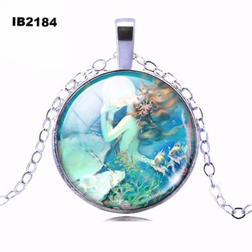 Fashion Bronze Sterling Silver Jewelry Newest Punk Mermaid Necklace Glass Cabochon Statement Chain Necklace for Women