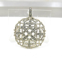 Sterling Silver Marcasite Pendant Slide, Large Round Open Scrollwork Lacy Design, Vintage Marcasite Jewelry