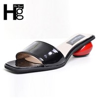 HEE GRAND Summer Women's Slippers 2017 Sweet Platform Round Heel Shoes Black White Woman Slides Size 35-39 XWT631