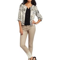 Sag Harbor Women's Missy Printed Open Front Jacket