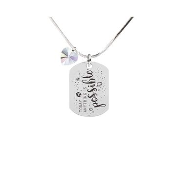 Inspirational Tag Necklace In AB Made With Crystals From Swarovski  - ANYTHING IS POSSIBLE