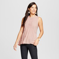 Women's Crochet High Neck Woven Tank - Knox Rose™ Blush