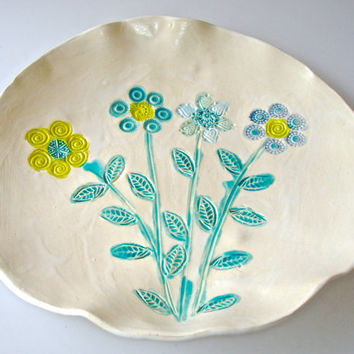 Ceramic Serving Platter, flower bouquet platter, shallow bowl