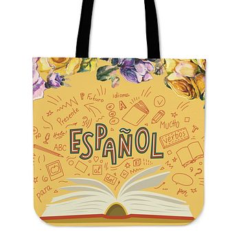 Spanish Book Linen Tote Bag