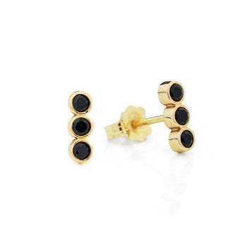 Black Onyx Studs, Black Diamond Alternative Bar Earrings, Solid Gold Stud Earrings, Solid Gold Earrings, 14K Earrings