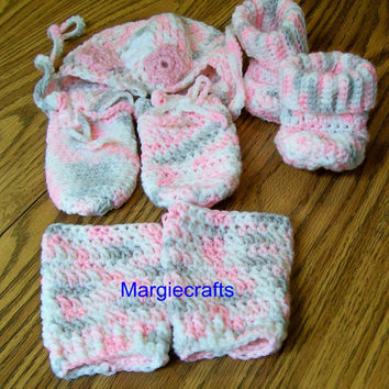 Handmade, Crochet, Baby Hat, Mittens, Booties, Leg Warmers, Infant Hat, Baby Accessories, Shower Gift, Baby Shoes, Leggings, Baby Socks