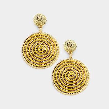 Swirl Thread Wrapped Disc Dangle Earrings