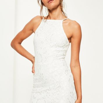 Missguided - White Lace Square Neck Bodycon Dress