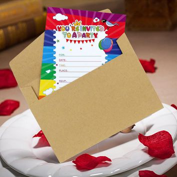 5pcs Happy Birthday Card lot with Envelope Cartoon Thank You Invitation Cards Greeting Cards Birthday Party Decoration Kids