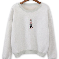Gray Cartoon Embroidery Crew Neck Long Sleeve Sweatshirt