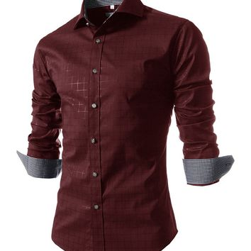 Casual Turn Down Collar Single Breasted Office Style Plaid Men Shirt