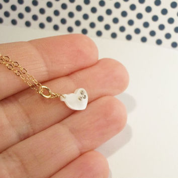 Dainty heart necklace, tiny ivory mother of pearl heart necklace, delicate tiny necklace
