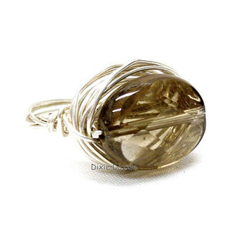 Wire wrapped smoky quartz ring, silver ring, gemstone ring, semiprecious gemstone, wire wrapped jewelry, made in USA
