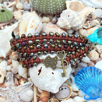 Triple wrap beaded bracelet with brown glass seed beads and key clasp, knotted macrame, Christmas gift for ladies