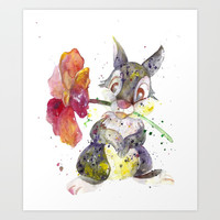 Thumper With Flower Art Print by Salome