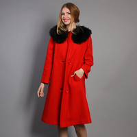 60s WOOL COAT / Bright Red with Plush Black FUR Collar, s