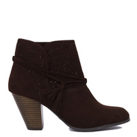Lasercut Detail Ankle Boots - Brown Suede