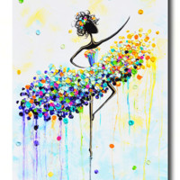 GICLEE PRINT Art Abstract Dancer Painting Aqua Blue CANVAS Prints Colorful Wall Decor Sizes to 60""