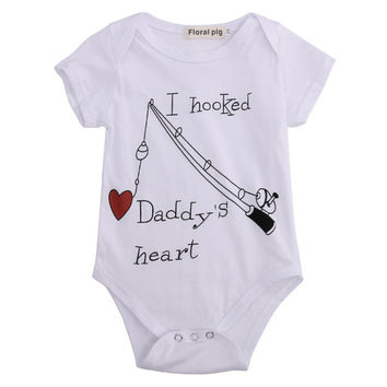 Cotton Short Sleeve White Jumpsuit Playsuit Bodysuits Summer I Hooked Daddy's Heart Baby Boys Girls Infant Babygrow