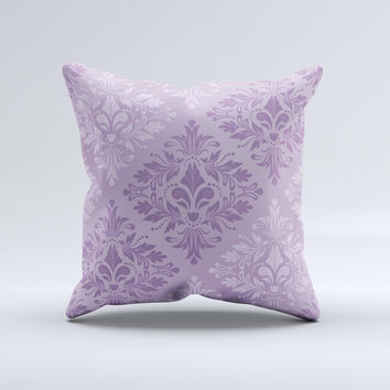 Light and Dark Purple Floral Delicate Design ink-Fuzed Decorative Throw Pillow